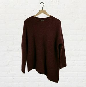 Eileen Fisher Burgundy Asymmetrical Knit Sweater